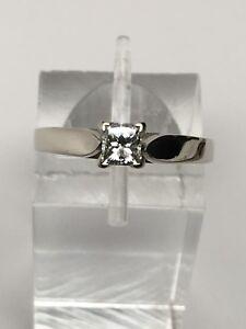 14K-Oro-Blanco-Corte-Princesa-Natural-Anillo-Solitario-Diamante-de-Compromiso
