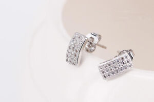 Solid-925-Sterling-Silver-Small-Cute-Bent-Curve-Rectangle-Bar-CZ-Stud-Earrings