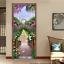 3D Garden Bridge Purple Flowers Self-Adhesive Bedroom Door Murals Wall Sticker