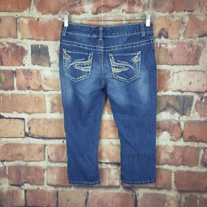 Maurices-Cropped-Jeans-Womens-Size-5-6-Juniors-Thick-Stitch-Capri-Distressed