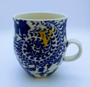 ANTHROPOLOGIE Monogram Letter V Homegrown Initial Floral Coffee Mug Cup Blue