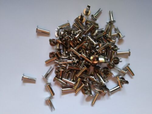 100 ~14-8 Nickel Plated Split Rivets Cymbal Sizzlers 9/64 diameter x 1/2 long
