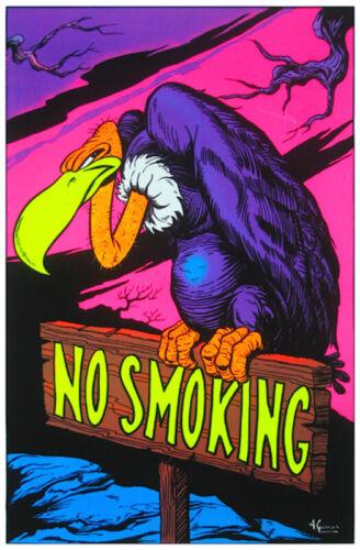 23X35 FLOCKED 53339 NO SMOKING VULTURE BLACKLIGHT POSTER