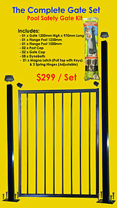 Flat-Top-Pool-Gate-Set-Includes-Bolted-Flange-Posts-Child-Proof-Lock-Kit