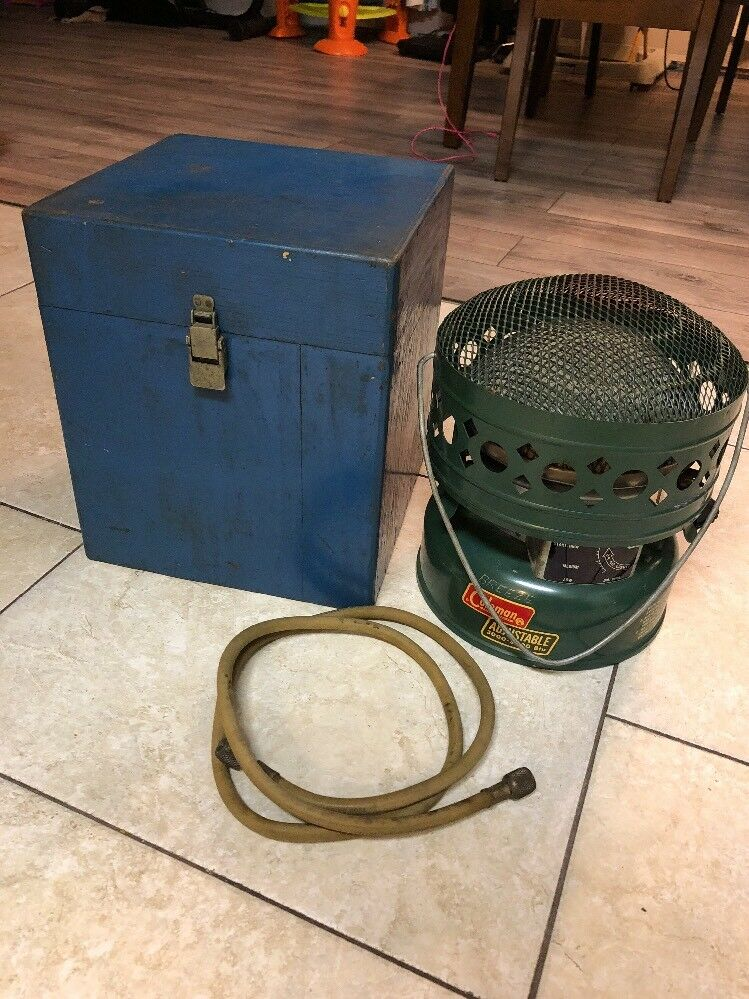 Vintage Coleman External Propane Catalytic Heater 513 5000 BTU Camping Wood Box