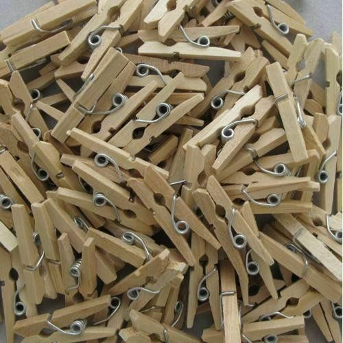 60 Mini Wooden Pegs 25mm Tiny Craft Wedding Hanging Photo Small Clips Tiny Art