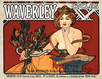 Waverly Cycles, 1898 Alphonse Mucha Advertising Poster Canvas Art Print 30x24 In