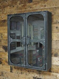 Industrial-Metal-Glass-Wall-Cabinet-Storage-2-Door-Shelf-Display-Shelving-Unit