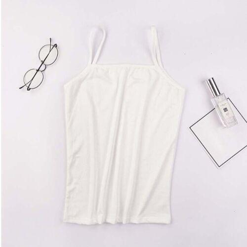 Women Solid Color O-Neck Spaghetti Strap Sleeveless Tank Top Underwaist Camis VU