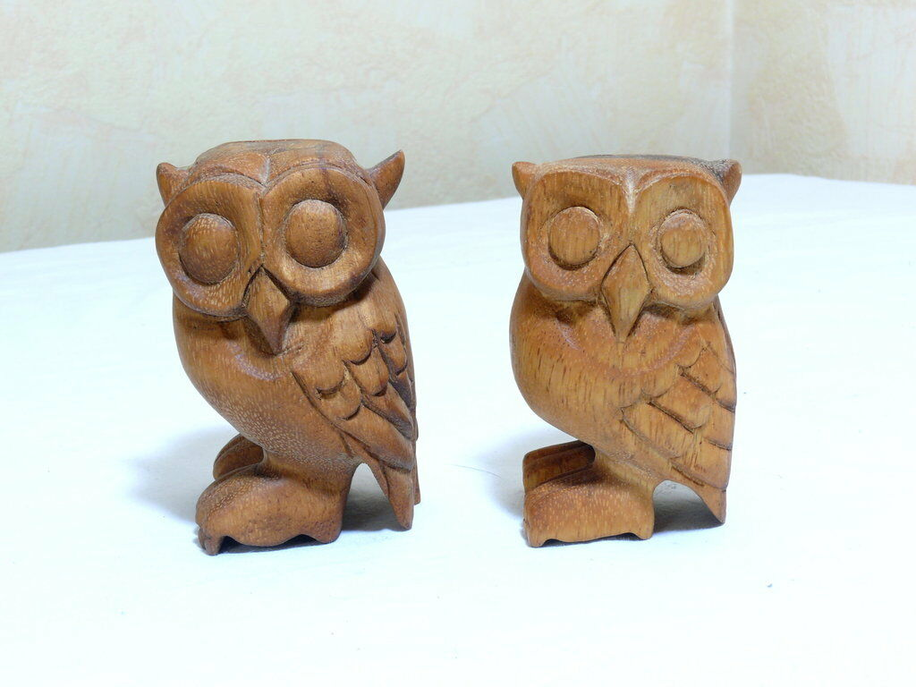 Camphill Wooden Toy Decor 2 Pcs Nice Owl Owls with with with Flute Wood Owl 0b82be