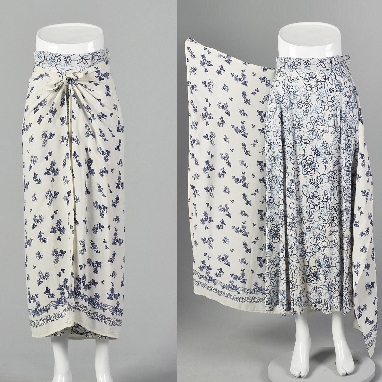 XS 1990s Blue White Maxi Skirt Bohemian Long Laye… - image 2