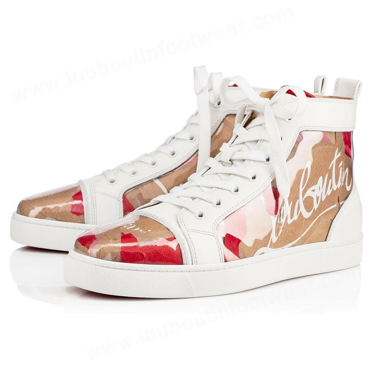 Christian Louboutin Mens Louis Flat Loubi Kraft PVC Nude Red High Top Sneaker 46