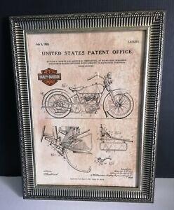 Cadre décoration vintage dépôt de brevet invention Harley Davidson