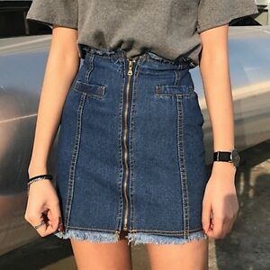 New-Women-039-s-Girls-Denim-High-Waist-Mini-Skirts-Fashion-Short-Jean-A-Line-Skirts