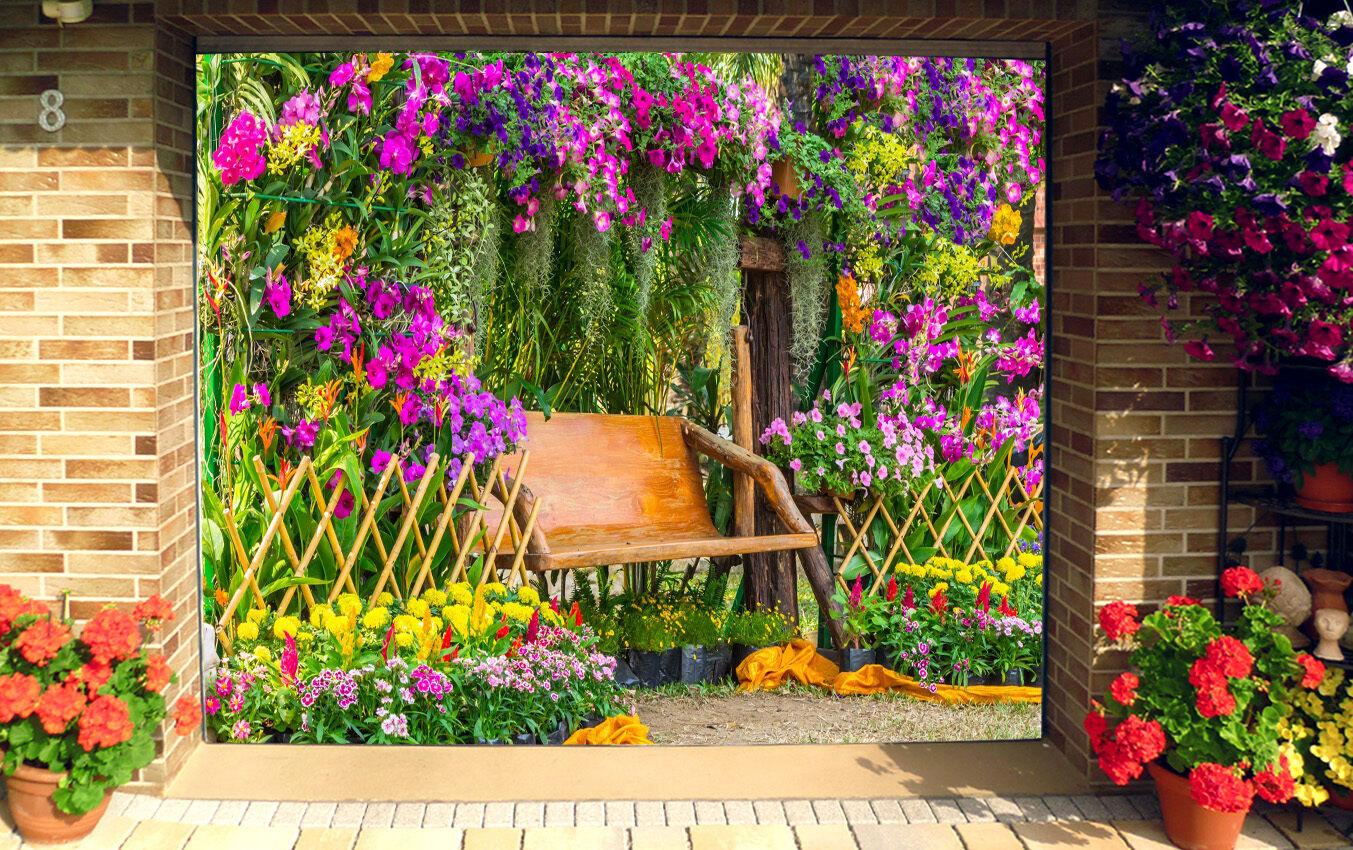 3D Flowers Bench 2 Garage Door Murals Wall Print Decal Wall Deco AJ WALLPAPER IE