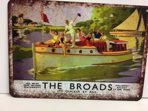 The Norfolk Broads advertising vintage retro signs repro wall art