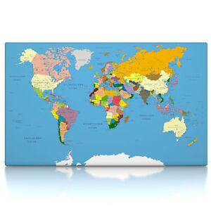 Weltkarte Classic Poster Oder Leinwand Bild Auf Keilrahmen