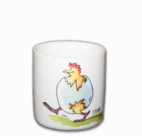 2x Peter Gaymann Eierbecher NEU//OPV mit Motiv Eierlauf Frühstücks-Ei