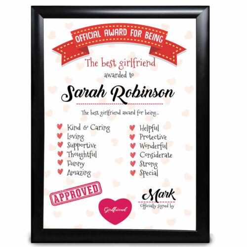 Personalised Gifts Award Best Girlfriend Anniversary Valentines Day Print