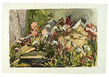 60s Exhibited Garden Rubble Cow Parsley Watercolour Landscape Painting Harrison