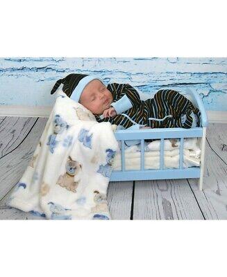 Stephan Baby Ragazzo A Righe Maglia Di Cotone Blu Cane Footie 0-3 Mesi 619016 In Corto Rifornimento