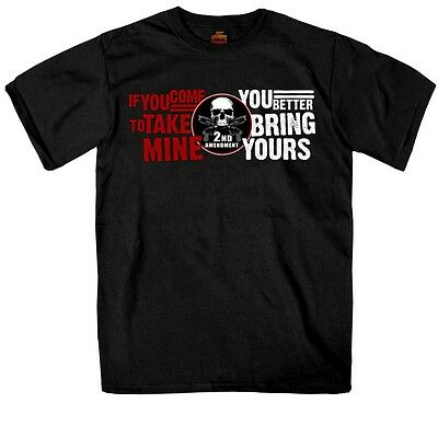 """2nd Amendment """"COME FOR MINE"""" T-Shirt Gun Rights Skull """"BRING YOURS"""" NEW"""