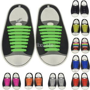 16Pcs No Tie Kids Adult Shoelaces Silicone Rubber Slip Easy Sneaker Shoe Laces