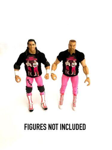 Wwe Bret Hart Jim Neidhart /'Hart Foundation Camisetas Personalizadas Para Figuras De Mattel.