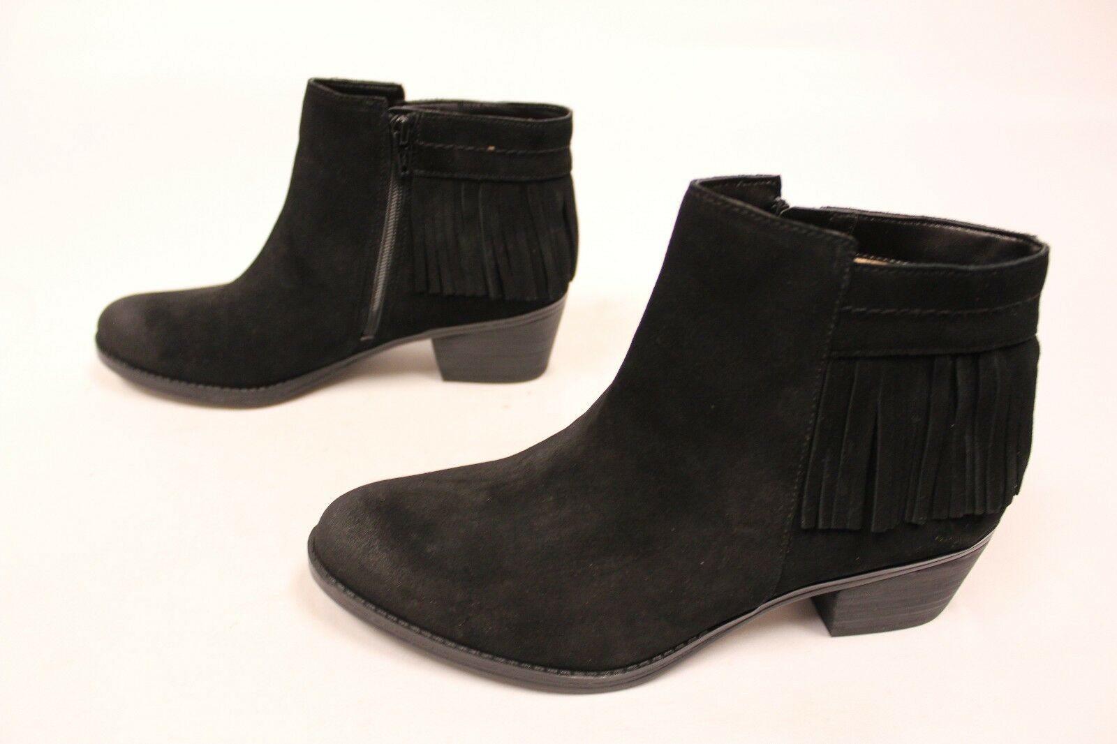 Naturalizer Zeline Fringed Bootie Ankle Boots Black Suede MM1 Women's Size 9W