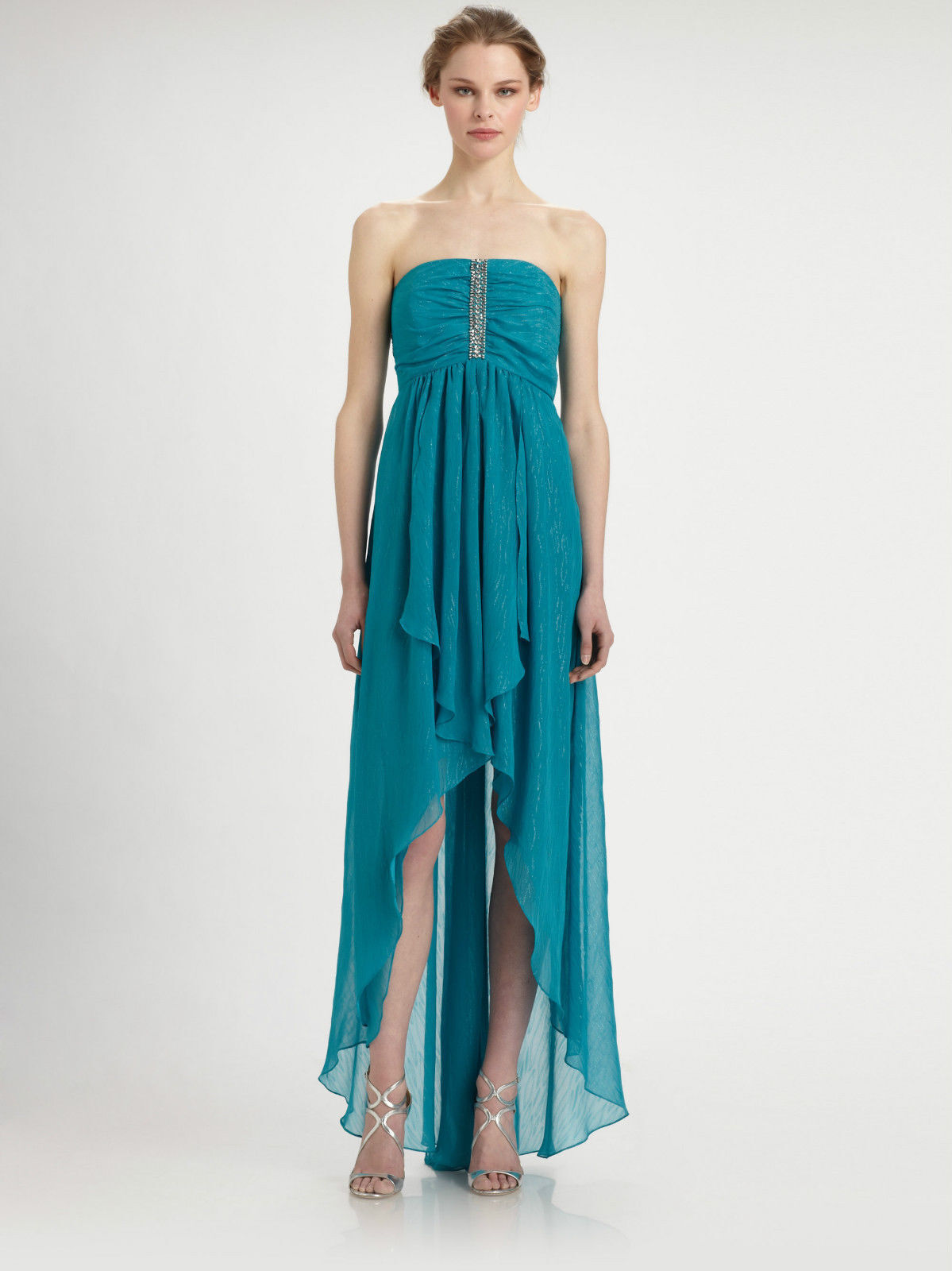 LAUNDRY  395 NEW Sexy Aqua Embellished Strapless High-Low Hem Gown Dress 10 QCO