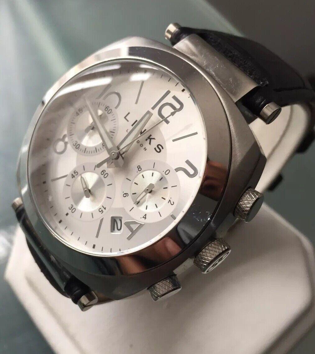 Mens Genuine Links Of London Brompton Chronograph Designer Watch Black Leather