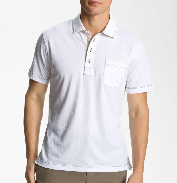 Billy Reid Men's Short Sleeve Pensacola Solid Pocket Polo Cotton Shirt White