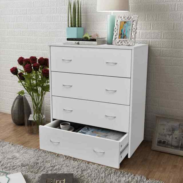 Sideboard with 4 Drawers 60x30.5x71 cm White