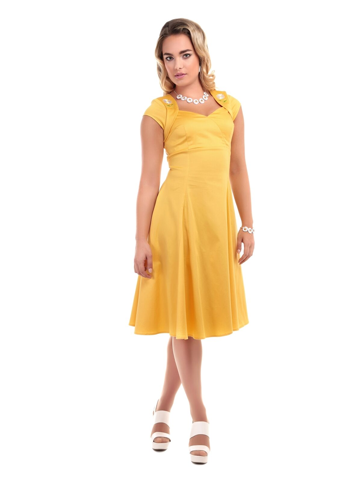 COLLECTIF VINTAGE SZ 10 - 22 YELLOW REGINA DAISY DOLL DRESS 1950S FLARED