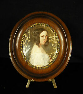 Miniatur-C-1850-Portraet-von-Mme-st-Chassaignac-Born-Oragon-Ol-Paint