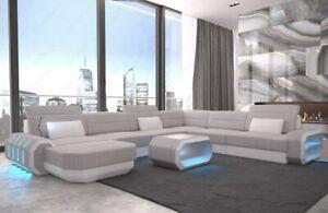 Sofa-Wohnlandschaft-Polster-Couch-ROMA-XXL-Grau-Strukturstoff-Polstersofa-LED