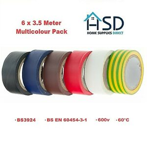 6-x-PVC-Insulation-Tape-Coloured-Electrical-Wiring-Flame-Retardant-19mm-x-3-5M