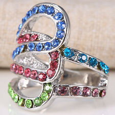 2ct 925 Silver Ruby Blue Topaz Gemstone Size 8 Woman Wedding Engagement Ring