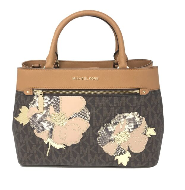 e8b7e0e14bc027 Michael Kors Hailee Medium Satchel Floral Parches In Brown/Acorn Bag $448