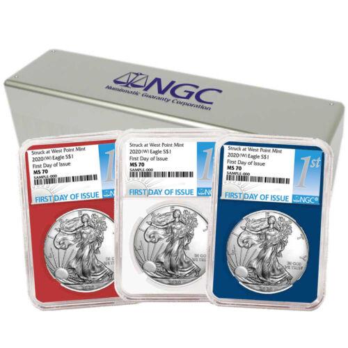 2020 W $1 American Silver Eagle 3 pc Set NGC MS70 FDI First Label Red White B