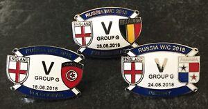 ENGLAND WORLD CUP 2018 GROUP G SOUVENIR ENAMEL MATCH PIN BADGE SET x ALL 3 GAMES - Southampton, United Kingdom - ENGLAND WORLD CUP 2018 GROUP G SOUVENIR ENAMEL MATCH PIN BADGE SET x ALL 3 GAMES - Southampton, United Kingdom