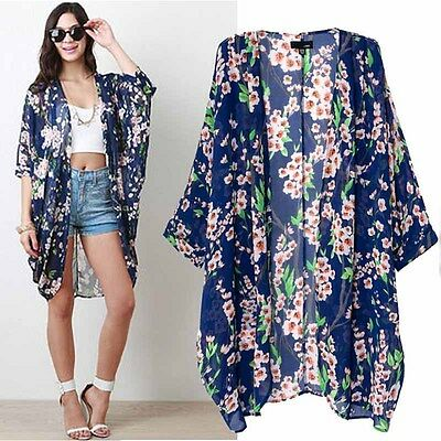 Women Printed Half Sleeve Chiffon Kimono Cardigan Coat Tops Blouse Excellent