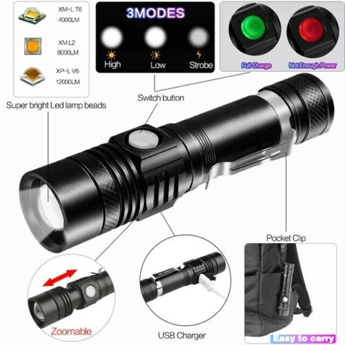 Super Bright 50000 LM T6 LED Rechargeable Zoom 3 Modes Flashlight Torch