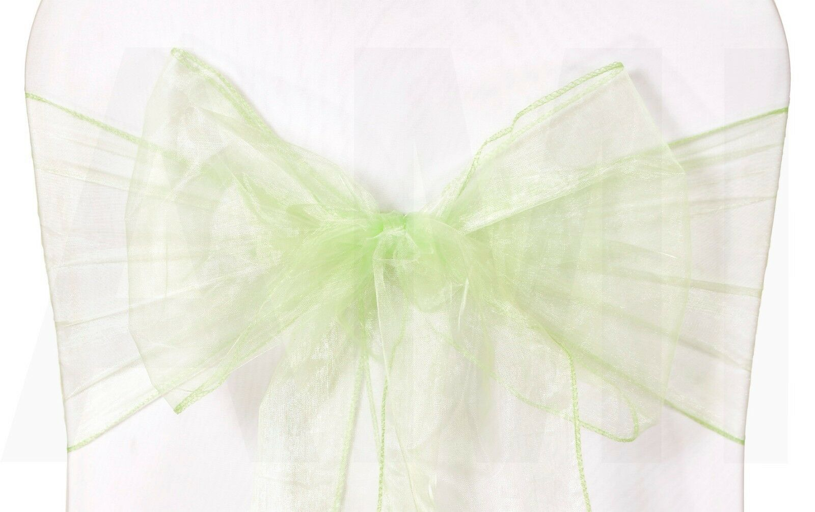 1 10 50 Light Grün Organza Chair Sashes Tie Bows Wedding Event Venue Decoration