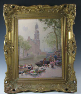 Dutch-School-Oil-On-Canvas-Painting-Jan-Knikker-Jr-Amsterdam-Montalbaanstoren