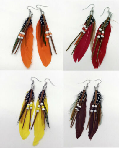 Feather Earrings White Black Brown Pink Yellow Orange Fuchsia Blue Red Purple