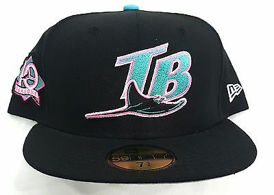 TAMPA BAY RAYS 10 SEASONS PATCH NEW ERA 5950 FITTED CAP HAT BLUE UNDERVISOR