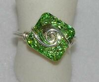 Green Chrysolite Crystal Square Sterling Silver Wire-wrapped Ring Size 8 & 9