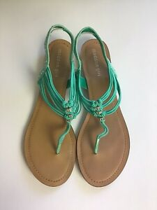 Madden-Girl-Women-s-Turquoise-Thong-Sandals-Rhinestones-Size-11-Thrill-Style