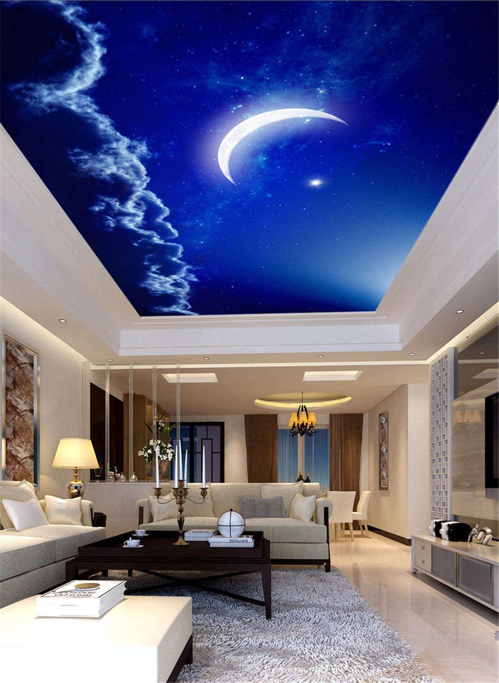 Pure Moonlit Night Full Wall Mural Photo Wallpaper Print 3D Ceiling Decor Home